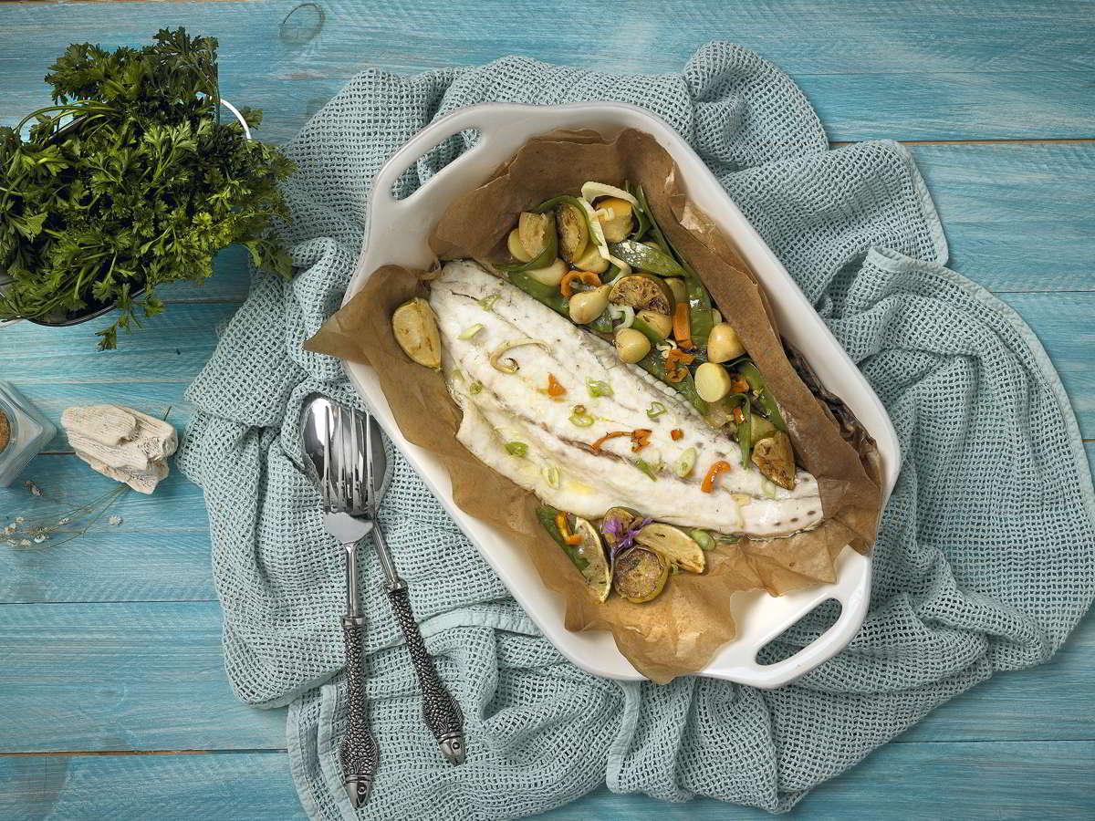 Filete de CORVINA REX al horno con verduritas